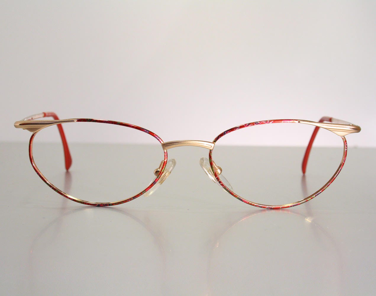 804a55fda1 Gorgeous ZEISS Colorful Multicolor Pattern Glossy Shiny Red   Gold Women s Eyeglass  Frames Cateye ish
