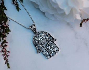 Filigree Hamsa Pendant | Sterling silver pendant, handmade necklace, boho pendant, bohemian pendant, gypsy jewellery | Yarah Store