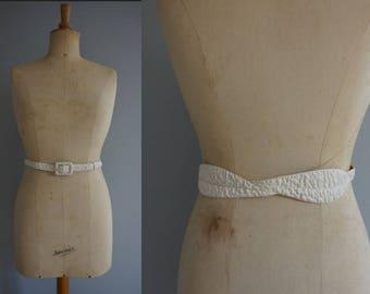 White Leaf Belt / Vintage Belt