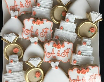 Wedding Bridal Shower Engagment Cookies