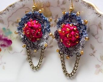 Romantic textile earrings, hand beaded and crochet, chandelier earrings, boho, art to wear, fuchsia