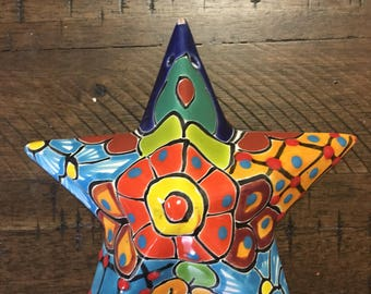 Talavera star/ star wall decor/ colorful star/ mexican pottery/ mexican folk art/ star wall art/ star wall hanging/ talavera wall art
