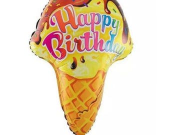 "18"" Ice Cream Balloon, Ice Cream Birthday Party, Ice Cream Party Decorations, Happy Birthday Balloon, Ice Cream Foil Balloon, Birthday Decor"