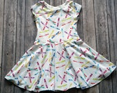 Crayon Dress. Back to School Dress. Baby Dress. Toddler Dress. Little Girl Dress. Twirl Dress. Twirly Dress. Play Dress. Kids Dress.