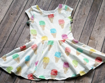 Ice Cream Dress. Toddler Dress. Little Girl Dress. Twirl Dress. Twirly Dress. Baby Dress. Baby Ice Cream Dress. Ice Cream Party. Comfy Dress