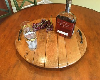Whiskey or Wine barrel serving trays