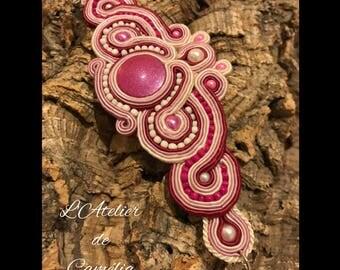 Pink bracelet, soutache Bracelet, White Pearl Bracelet