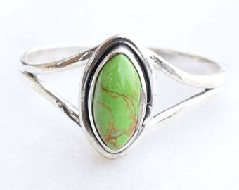 Green Turquoise Ring, Turquoise Ring , Turquoise Stone Ring, Silver Ring. Sterling Silver Ring,