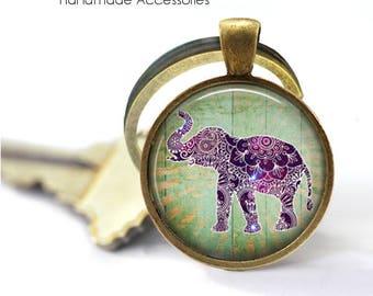 BOHO ELEPHANT Key Ring • Purple Elephant • Peace Love • Asian Elephant • Buddhist • Gift Under 20 • Made in Australia (K524)