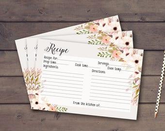 Recipe Card Bridal Shower Floral Printable Games Boho White Flowers Peach Background Wedding Card Instant Download - BG002