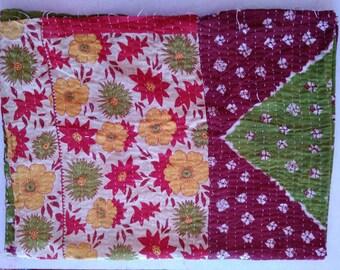 Vintage Kantha Quilt -Spring Floral Pattern Handmade Reversible vintage kantha Embroidered Indian blanket Quilt Twin Size Ethnic Bedcover