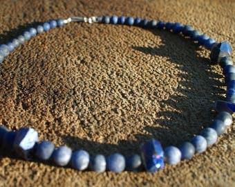Rainbow druzy quartz necklace - Lapis lazuli matte sand frosted necklace - Blue necklace