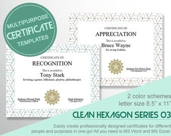 Multipurpose CERTIFICATE TEMPLATES H03 - Create different certificates for a list of awardees in one go using MS Word!