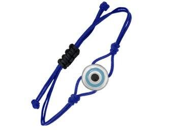 minimalist evil eye silver charm bracelet, protection from evil charm, good luck charm bracelet, protection talisman