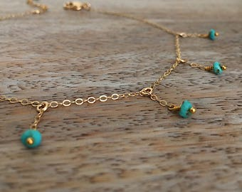 Sleeping Beauty Turquoise Jewelry Turquoise Anklet Statement Jewelry Cascade Anklet Gold Drop Anklet Beach Summer Anklet Foot Bracelet