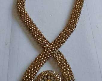 Brass Collar Necklace With Crystal Surround centrepiece