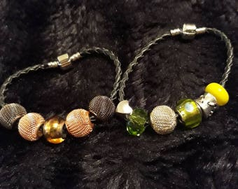 Pair Of Vintage Leather Corded Beaded Bracelets With Metal And Glass Beads.