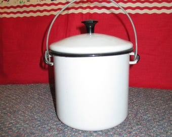 vintage White with Black trim enamelware berry pail with cover and bale handle SCARCE