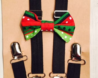 Christmas bow tie, green bow tie, red bow tie, Bow tie and suspender set, Baby bow tie, Baby suspenders, Toddler bow tie, Toddler suspenders