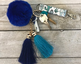 Cactus Key Fob with Pom And/Or Tassels