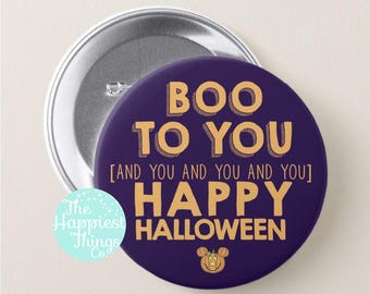"""Boo To You Halloween Button - Mickey's Not So Scary Halloween Party - 3"""" Disney Button"""