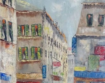 Impressionist painting, shopping street in Paris, oil on canvas, j. Mario or j. Marco