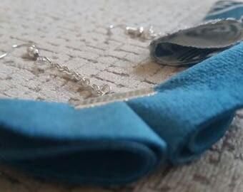 Pair of fabric earrings - blue velvet and blue/grey fantasy linen