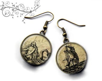 Earrings ship Mermaid, sea, ocean, sand, storm