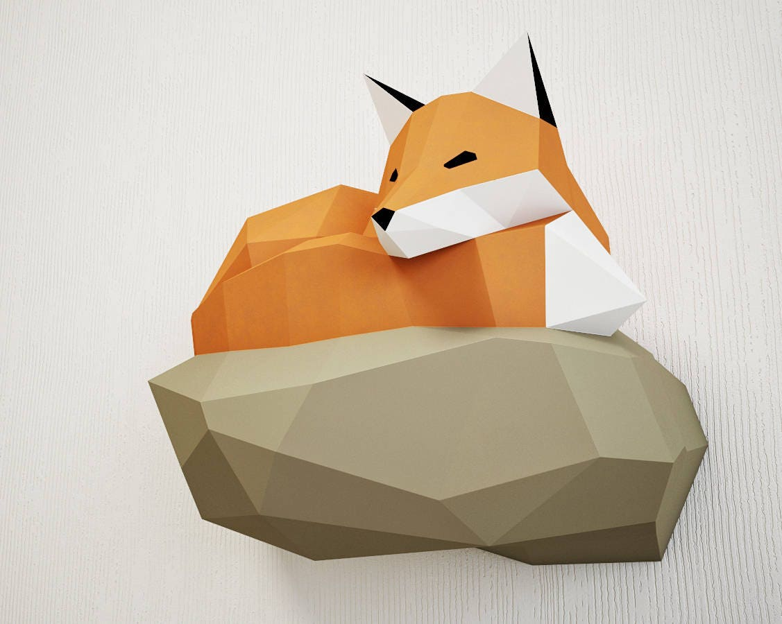 Papercraft fox on rock paper model 3d paper craft paper for Paper craft home
