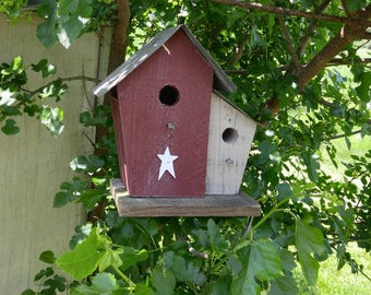DOUBLE HOUSE BIRDHOUSE Amish handmade Reclaimed materials