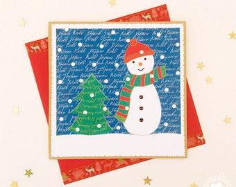 "Card ""Joyeux Noel"" illustration ""Snowman"" and a decorated envelope"