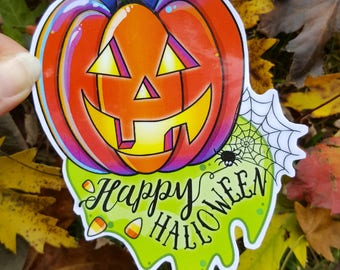Happy Halloween Jack-O'-Lantern Sticker
