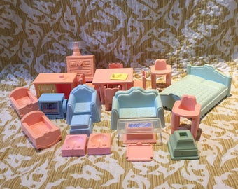 Vintage playskool dollhouse furniture lot collection
