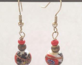 Porcelain bead earrings