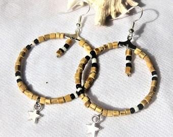 boucles d'oreilles créoles, légères et estivales, tulsi, étoile, crochets en argent