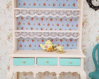 Dollhouse Miniature,Doll house Miniatures,Shabby Chic Miniatures,Dollhouse Kitchen,Queen Anne Dresser,12th Scale Miniatures,