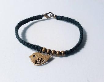 Macrame, beaded bracelet and charm