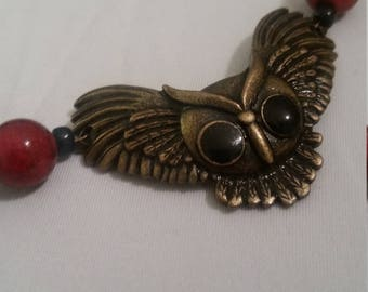 Red and Black Owl Choker