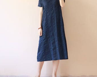 Linen dress Cotton and linen dress is loose type salt reduction to restore ancient ways the hem of the robe