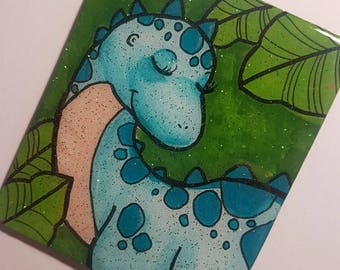 Lumin the Dinosaur Handmade and Painted Coaster