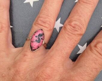 Dalmatian Jasper silver ring