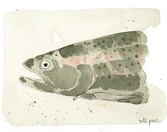 Trout. Trout. Original watercolor