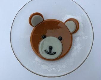 Fused glass teddy bowl