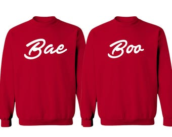 Couple Bae & Boo Valentines Day Crewneck Sweaters for Him and Her