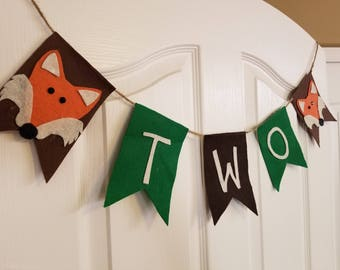 Fox TWO high chair, photo booth, back drop, decoration, birthday banner