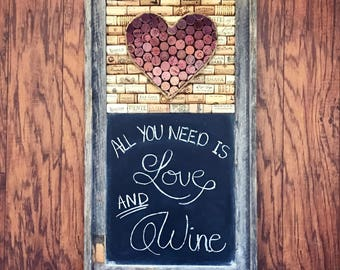 Wine cork art and chalkboard, Barnwood frame, ombre wine cork heart, rustic home decor, wine lover gift, farmhouse decor, housewarming gift