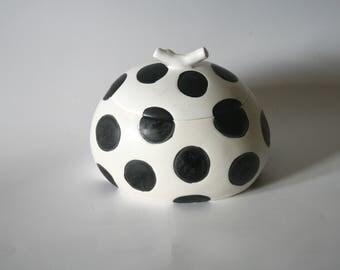 Black & White Polka Dot Round Keepsake Cremation Urn
