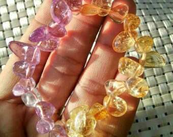 Amethyst And Citrine Natural Stone Large Chips Stretch Bracelet