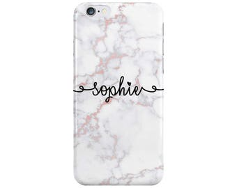 Personalised Curly Name initials Rose Gold Marble Phone Case Cover for Apple iPhone 5 6 6s 7 8 Plus & Samsung Galaxy Customized Monogram