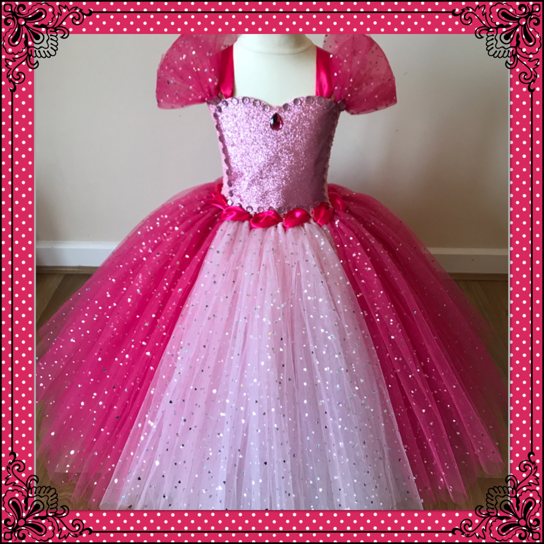Pink Princess Tutu Dress Inspired by Aurora Sleeping Beauty Sparkly
